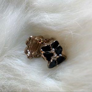 Enamel / rhinestone flower earrings
